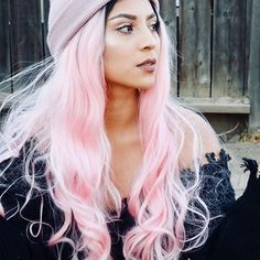 Long Black Root To Pastel Pink Bouncy Wavy Synthetic Lace Front Wig Synthetic Lace Front Wigs, Synthetic Wigs, Dye My Hair, Your Hair, Cute Hairstyles, Wedding Hairstyles, Pink Wig, Fashion Beauty, Fashion Hair
