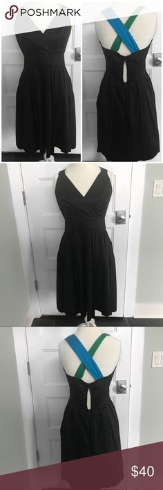 """Calvin Klein Sleeveless Black Colorblock Dress -12 Calvin Klein Sleeveless color-block ponte sheath with green and blue border . Perfect for a wedding a fun casual day! 📍in EUC no rips, stains or wear. Non smoking home   Measurements laying flat are  Pit to pit-17"""" Length-28""""  📌Posh Ambassador 📌5 Star Seller 📌 Fast Shipping    📌honest✔️ out my lovenotes ❤️ Calvin Klein Dresses"""