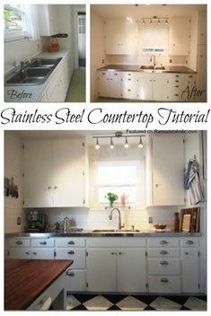Remodelaholic | Affordable Stainless Steel Countertops; DIY Laminate Countertops, Kitchen Countertops, Metal Countertops, Kitchen Cabinets, Stainless Steel Counters, H Design, Design Ideas, Up House, Tiny House