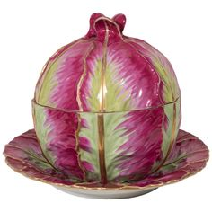 Early 19th Century Meissen Cabbage Tureen Painted in Fuchsia and Green | See more antique and modern Soup Tureens at https://www.1stdibs.com/furniture/dining-entertaining/tureens