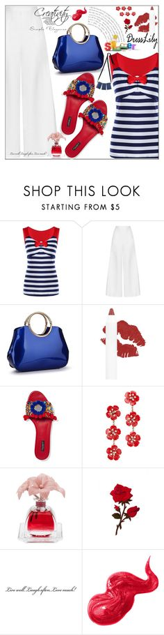 """""""#dresslily"""" by bilbomex ❤ liked on Polyvore featuring Miguelina, Dolce&Gabbana, Jennifer Behr, Agraria, Bobbi Brown Cosmetics and Marni"""