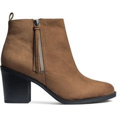 Ankle Boots $34.99 ($35) ❤ liked on Polyvore featuring shoes, boots, ankle booties, ankle boots, h&m boots, faux suede ankle boots, side zip boots and high heel bootie
