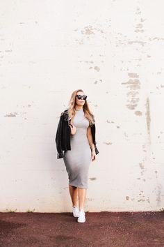 Grey dress // leather jacket // Converse // outfit by alexa dagmar