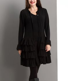 Look what I found on #zulily! Black Tiered Ruffle Cardigan - Plus #zulilyfinds  $39.99