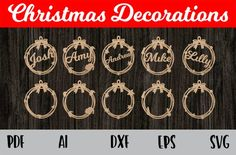 Bulk collection of Christmas ornaments You get 30 ornaments 1 Count down file 1 ornament file 5 File formats SVG,AI,PDF,EPS and DXF You may sell the product but you may not sell or distribute the digital file. Dog Christmas Ornaments, Mickey Christmas, Personalized Christmas Ornaments, Christmas Decorations, Wood Ornaments, Christmas Ideas, Easter Egg Designs, Laser Cut Files, Cricut
