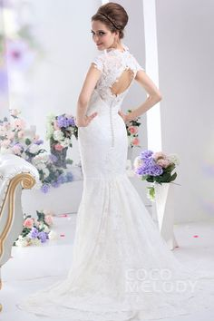 Romantic Trumpet-Mermaid V-Neck Court Train Lace Key Hole Wedding Dress CWKT13003 #weddingdresses #cocomelody