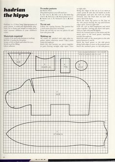 Toy Hippo Pattern - a neighbour made one of these for me when I was a littler girl!  I remember taking it for walks (always wanted a dog!  lol)