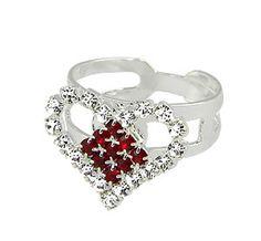 #Anel ajustável #folheado a #prata em forma de coração todo em strass.  - Código: AN0406 P - Preço 20,90 - Garantia de 1 ano pós compra. Compre em: www.imagemfolheados.com.br/?a=76729