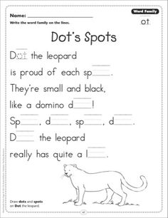 Dot's Spots (Word Family -ot): Word Family Poetry Page} - Printables