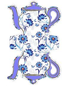 Molde Decorado Caixinha de Bule de Chá azul