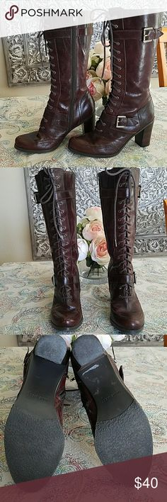 """Nine West Rockwell leather boots Nine West Rockwell leather boots.  Lace up front and side zip closure.  3"""" heel and mid calf high. Nine West Shoes Heeled Boots"""
