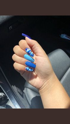 How to choose your fake nails? - My Nails Camouflage Nails, Camo Nails, Aycrlic Nails, Coffin Nails, Blue Acrylic Nails, Summer Acrylic Nails, Acrylic Nail Art, Summer Nails, Nail Swag