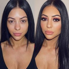 """Stunning before and after  Wearing NEW 3D Band-Less @LillyLashes in style """"Arika""""  Flawless glam by @jennydo_ on the beautiful @natalie_tas  #GhalichiGlam #LillyLashes #LillyGhalichi"""