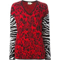 Fausto Puglisi Animal Print Sweater ($741) found on Polyvore featuring tops, sweaters, red, red v neck top, animal print sweater, red v neck sweater, long sleeve tops and vneck sweater