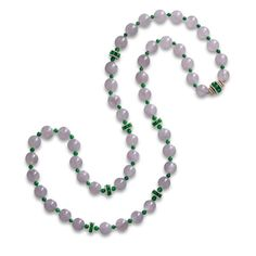 Icy Lavender Jadeite Bead, Jadeite Bead and Diamond Necklace | Lot | Sotheby's