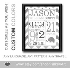 grey birth stats wall art nursery birth decor birth statistics print baby birth print birth subway gift for new parents newborn birth art by PinkeeArt, $17.00