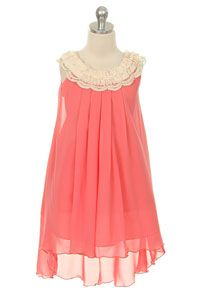 Flower Girl Dress Style 289- Coral Sleeveless Chiffon Baby doll Dress