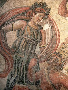 Detail of Roman Mosaic pavement depicting the struggle between Dionysus and the Indians from the Villa Ruffinella in Tusculum 4th century CE by mharrsch, via Flickr