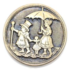 Button  Metal Kate Greenaway Pictorial Medium by KPHoppe on Etsy