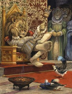 King Louie by Chris Dunn Another private commission that requested a lion and a puffin in some kind of amusing situation. So I came up with a Tudor King Louie who doesn't look too impressed by a puffin prince's gift. Art And Illustration, Watercolour Illustration, Book Illustrations, Chris Dunn, King Louie, Fantastic Art, Pet Portraits, Illustrators, Book Art