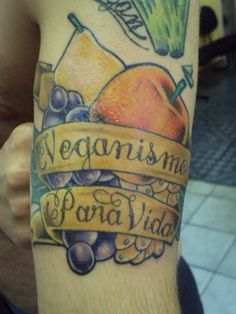This is one committed Vegan - not one, but two vegan tattoos in two different languages.