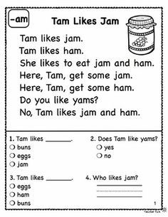 Reading Comprehension Passages and Questions FREE by Teacher Tam Phonics Reading, Kindergarten Reading, Teaching Reading, Free Reading, Guided Reading, Reading Comprehension Worksheets, Reading Passages, Reading Intervention, Reading Skills