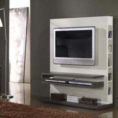 Mesa TV con biblioteca - Mesa TV con biblioteca en la parte trasera Wall Unit Designs, Tv Wall Design, Tv Unit Design, Tv Design, Tv Wall Shelves, Tv Wall Cabinets, Deco Tv, Tv Stand Furniture, Tv Wand