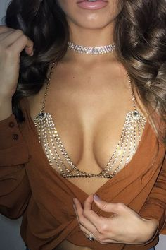 Bhad Gurl Rhinestone Bra Available in Gold & Silver Bra Jewelry Lobster Claw Closure with Extension Rhinestones, PVC, Plated Base Metal Sexy Outfits, Mode Outfits, Fashion Outfits, Womens Fashion, Style Fashion, Casual Outfits, Bralette Chain, Bra Chain, Bra Jewelry