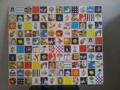 Oude memory kaartjes als muur decoratie op de kinder kamer - Kinderkamer decoratie ...