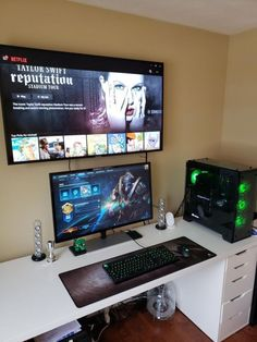 10 DIY Computer Desk Ideas for Home Office DO-IT-YOURSELF Computer Along with the advancement of personal computer and also Web, more and more people invest tons of time at the keyboard. Having an effective personal computer Computer Gaming Room, Computer Desk Setup, Gaming Room Setup, Pc Setup, Gaming Chair, Gaming Rooms, Ikea Gaming Desk, Chaise Gaming, Best Gaming Setup