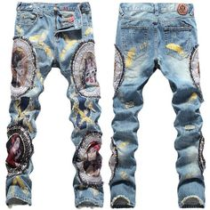 Men Blue Fray Figuring Painting Punk Rock Hip Hop Fashion Jeans SKU-11404014