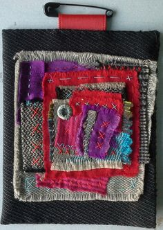 Textile table: Composition in red and purple by VeronikB on Etsy