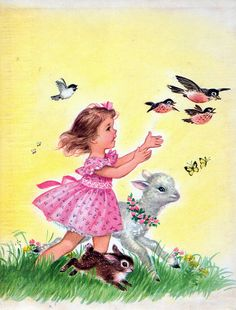 Lovely Eloise Wilkin Illustration. Little girl running with God's Creatures.