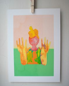 Yellow and Green giclee print + pp Creative Art, Etsy Store, A4, Giclee Print, Original Art, Creatures, Bright, Wall Art, Yellow