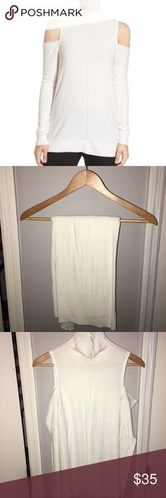 Trouve Cold Shoulder Sweater Coveted cold shoulder sweater that sold out in Nordstroms. Clean center seam and a touch of cashmere. Excellent condition. ⭐️5 Star Seller ⏰ Fast Shipper 💗 Read my Reviews! Now Accepting Offers Trouve Sweaters