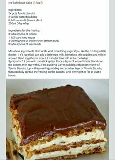 No bake Eclair cake Instant Pudding, Baking Recipes, Cake Recipes, Dessert Recipes, Kos, No Bake Eclair Cake, Recipe Tin, Food Garnishes, Sweet Tarts