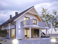 Projekt domu Amarylis 3 152,6 m2 - koszt budowy - EXTRADOM House Outside Design, Small House Interior Design, House Front Design, Balcony Design, Roof Design, One Storey House, Model House Plan, Best Tiny House, Bungalow House Plans