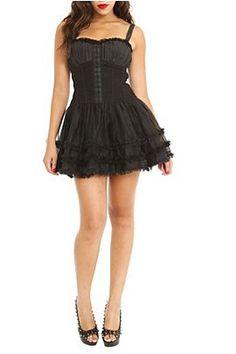 hot topic royal bones black corset dress zipper lace mesh tulle ruffles layers straps tripp goth gothic alternative tripp