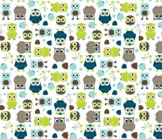 Owls, in Blue - In The Land of Boys fabric by aimeemarie on Spoonflower - custom fabric.17.50yrd