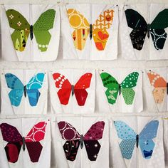 A flurry of butterflies ~ by Wombat Quilts ~ these are paper-pieced, using Lizzie House fabrics.
