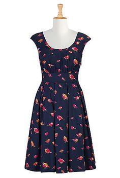I this Bird print cotton poplin dress from eShakti (modify to raglan short length sleaves) ** Fall Dresses, Nice Dresses, Casual Dresses, Fashion Dresses, Short Dresses, Sundresses Women, Women's Sundresses, Ruffles, Dresser