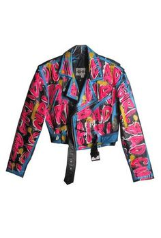 Hand Painted 'BAD GIRL' Leather MC Jacket This piece is made-to-order. Colorful Fashion, Diy Fashion, Fashion Outfits, Fashion Design, Custom Clothes, Diy Clothes, Punk Jackets, Painted Clothes, Stage Outfits
