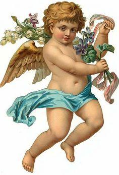vintage die cut scrap - angel