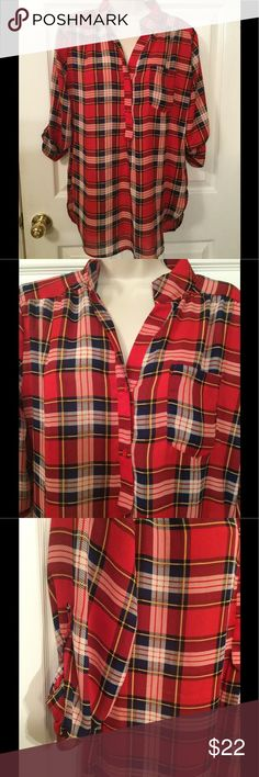"""CALS long plaid medium Tunic NEW measures 30"""" bust elastic..elastic waistband..lined to just above the knee..50"""" length..has slip up the back CALS Tops Blouses"""
