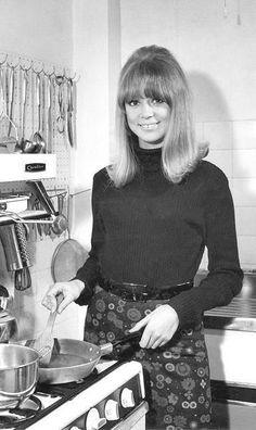 Pattie Boyd in the kitchen