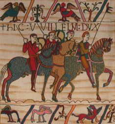 The Bayeux Tapestry cavalry wall hanging shows the horses of Duke William embarking for the invasion of England. One of our Battle of Hastings tapestries Bayeux Tapestry, Medieval Tapestry, Medieval Art, Lego Creator, Lego Ninjago, Tapestry Weaving, Tapestry Wall Hanging, Lego City, Duke William