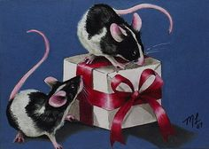 Black and White Mouse Art by Melody Lea Lamb ACEO by MelodyLeaLamb, $6.25