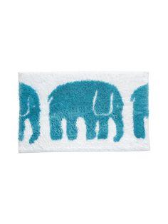 Pehmeässä kylpyhuonematossa on sympaattinen elefantti-kuosi.
