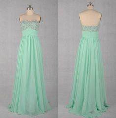 Fashionable Desing Sweetheart Neckline Floor Length Chiffon Prom Dress with Bead Work Bridesmaid Dresses Prom Dresses - Long Cihffon Dresses. $86.00, via Etsy.