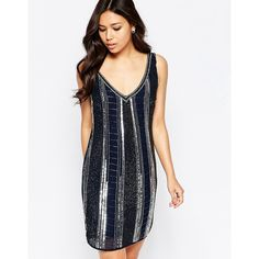 Maya Heavily Embellished Sequin Shift Dress ($56) ❤ liked on Polyvore featuring dresses, navy, chiffon cocktail dresses, navy blue dress, white shift dress, shift dress and white beaded cocktail dress